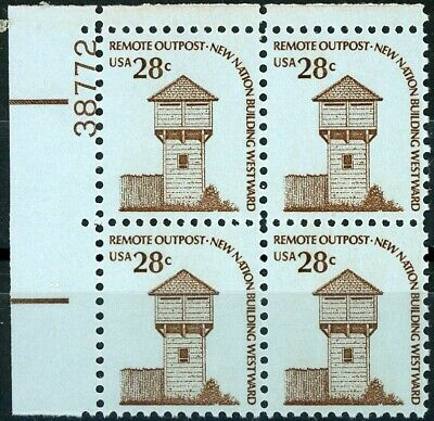 Fort Nisqually 28 Cent Numbered Plate Block of 4 MNH Scott