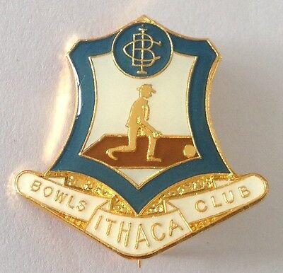 Ithaca Bowling Club Badge Pin Vintage Lawn Bowls (L21) ()