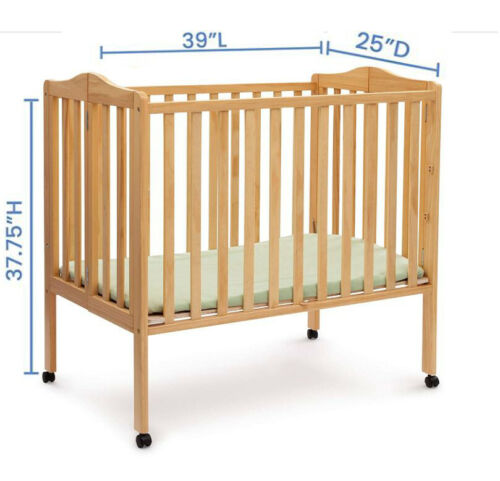 Baby Crib Mini with Mattress Children Folding Portable Easy Travel Natural Color