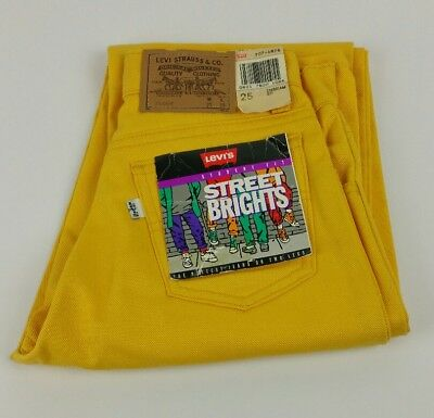 Levis Street Brights Womens Yellow 707 Student Jeans 80s 90s Deadstock 25x30