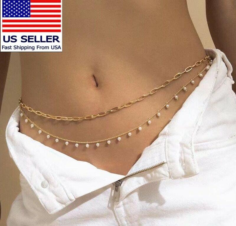 Waist Chain golden double Layers Pearl Luxury Belly Bikini Beach Style