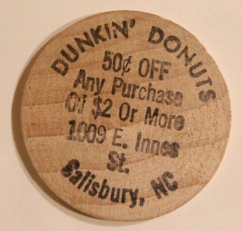 Vintage Dunkin Donuts Wooden Nickel Salisbury North Carolina