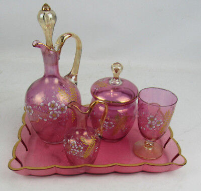 Antique Enameled Cranberry Flash Glass Decanter Tray Covered Jar Goblet Ewer Set Cranberry Flash