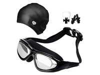 Swimming Goggles & Cap - Anti Fog - No Leaking - UV Protection - Shatter Proof - Ideal for Holiday