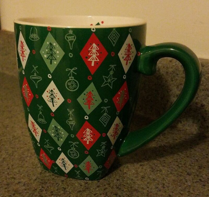 Starbucks 2002 Holiday Barista Green Coffee Mug Inside Ivory Trees Ornaments