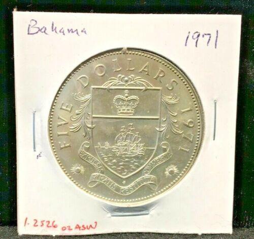 1971 Bahama Five Dollar Uncirculated Silver Coin