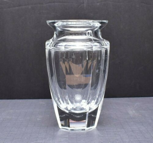 """Moser Crystal """"Eternity"""" Vase 7.5"""" tall Signed Clear"""
