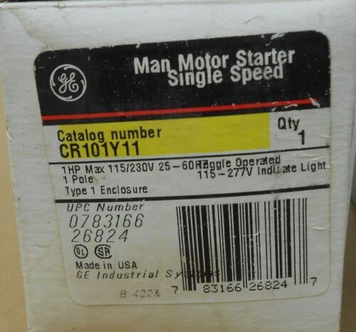 1 NIB GE GENERAL ELECTRIC CR101Y11 MAN MOTOR STARTER SINGLE SPEED 1HP 1P 230V