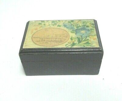 ANTIQUE MAUCHLINE BLACK TRANSFER WARE SMALL BOX FLORAL THE FORT MARGATE