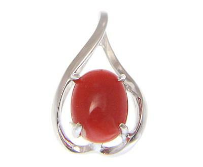 GENUINE NATURAL OVAL CABOCHON RED CORAL PENDANT SLIDE SOLID 14K WHITE GOLD Oval Ruby Slide