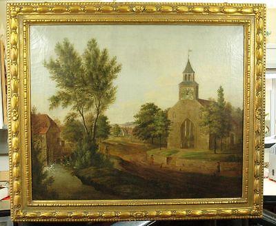 EINZIGARTIGE BILDER RAHMENUHR MIT 1/4 St. SCHLAG .ca.1810. SPINDEL HEMMUNG.