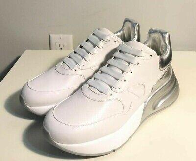 Brand-new Men's Alexander McQueen White/Silver Runner Sneakers in US 11/Euro 44