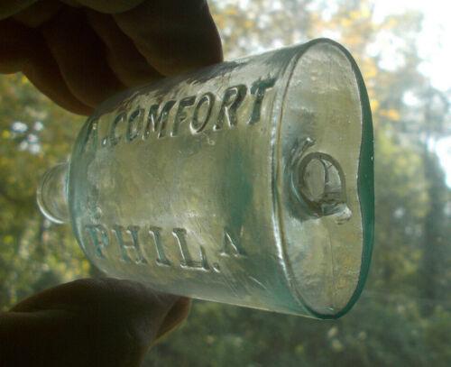 OPEN PONTIL A.COMFORT PHILA 1850s OVAL MEDICINE BOTTLE ROLLED LIP TUMBLED