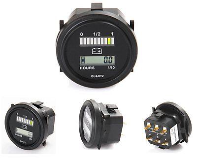 BOCAST Betriebsstundenzähler 52 mm mit Batterie-Ladezustandsanzeige 12V