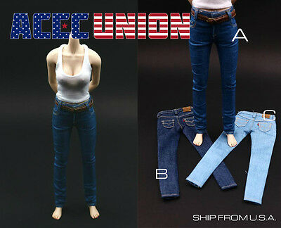 1 6 Scale Jeans Tank Top Set For 12  Phicen Hot Toys Female Figure U S A  Seller