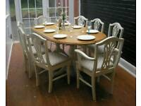 Beautiful Shabby Chic 6.5ft Extending Ducal Pine Dining Table and 8 Chairs