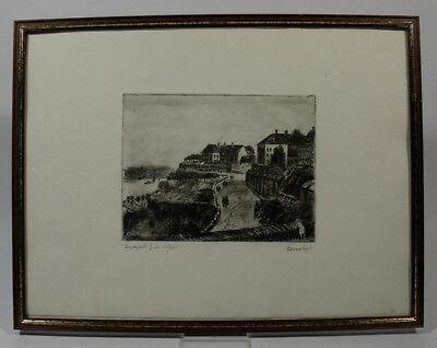 Istvan Elesdy 1912 - 1987 Radierung Hunyadi Budapest Donau Ungarn 15 / 100