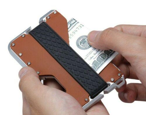 SLIM Genuine Leather Card Holder for Men RFID Metal Mens Wallet Money Band Clip