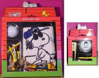 Snoopy Peanuts JOE PRO golf towel ball tee AND plated pivot gift set NEW IN BOX