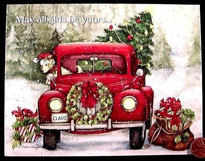 SUSAN WINGET Puppy Dog Red Car Wreath Tree Presents Claus - Christmas Card - NEW