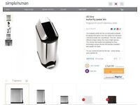 simplehuman Butterfly Pedal Bin - 45 litre - fingerprint-proof stainless steel