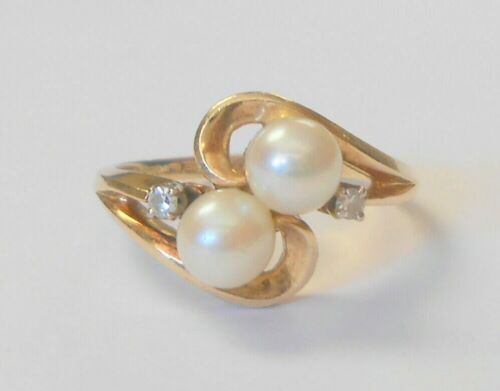 Vintage 14K Yellow Gold Double Cultured Pearl & Diamond Accent Ring Size 6.75