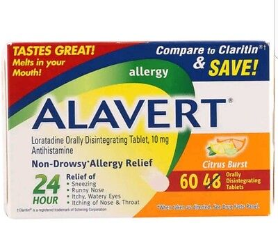 Alavert 24 Hr Allergy Relief 60 Tablets  Damaged Box But Factory New