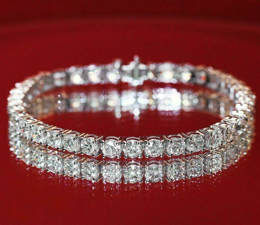 "10 Carat Ct Round Cut Diamond Tennis Bracelet 14k White Gold Finish 7.25"""
