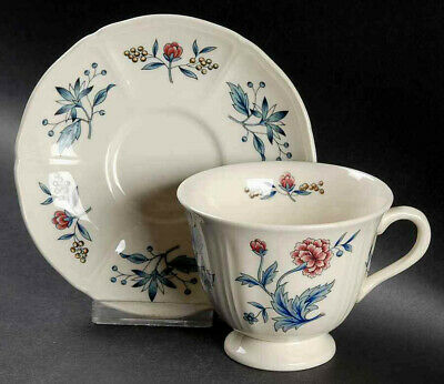 Vintage Wedgwood Tea Cup Coffee Saucer Plate Floral Wedding Gift Potpourri 1950s