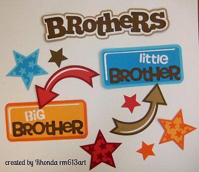 Brothers  boy title set paper piecing premade scrapbook page Rhonda rm613art