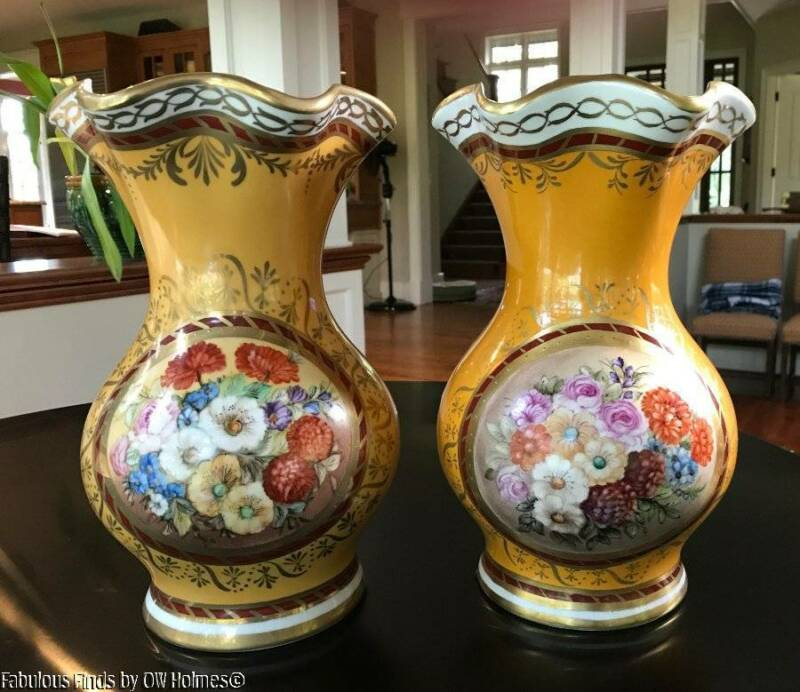Estate Large PAIR LIMOGES France Handpainted  Porcelain Floral Vases
