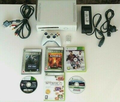 Microsoft Xbox 360 Bundle 20GB White Console 6 Games Wireless Controller