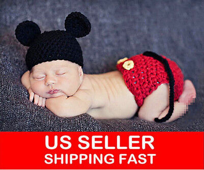 NEWBORN BABY BOYs MICKEY MOUSE CROCHET PHOTO PROP OUTFITs XMAS COSTUME - Baby Mickey Mouse Costume
