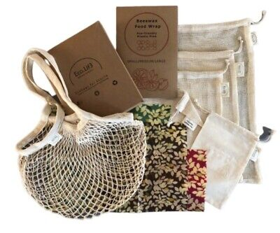 4 Beeswax Wraps Kit(1S,2M,1L) + 6 Reusable Produce Bags,Zero Waste Gift