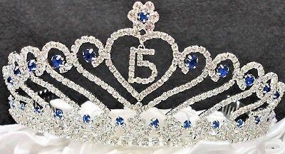 Royal Blue Sweet 15 Quince Tiara Blue Rhinestone Crown with Charm C6247- - 15 Tiara