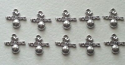 10 I LOVE VOLLEYBALL ANTIQUE  SILVER CHARM-METAL ALLOY-TEAM-SPORTS-GIFT](Volleyball Charm)