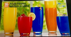 16 Acrylic Coloured Plastic Tumbler Water Drinking Glasses Drink Glass High Set