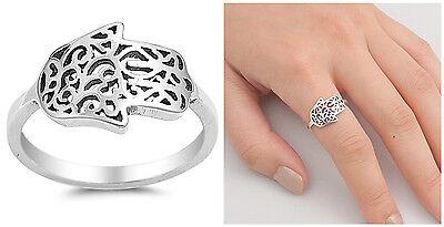 Sterling Silver Hamsa Ring - Sterling Silver 925 SIDEWAYS HAMSA HAND, HAND OF GOD DESIGN RING 12MM SIZES 5-10