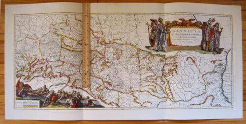 1657 Danube River MAP Reproduction Europe Germany Danubius Fluviorum Jansson