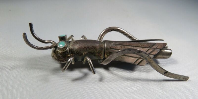 Sterling Silver Navajo Grasshopper Brooch with Turquoise Eyes