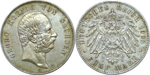 1903 E German States Saxony-Albertine Georg Silver 5 Mark XF KM# 1258