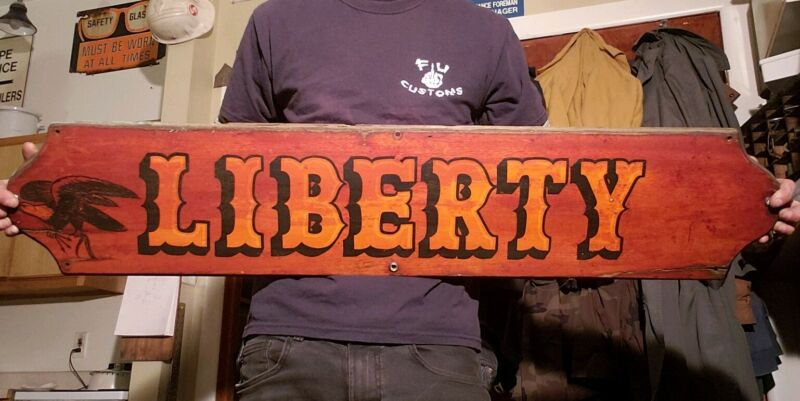 """Wooden Boat/Ship Name Board/Sign """"LIBERTY"""" Hand Done Lettering Antique Nautical"""