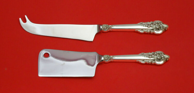 Grande Baroque By Wallace Sterling Silver Cheese Serving Server Set 2p Hhws Gift