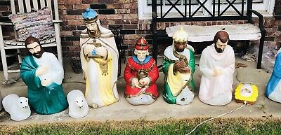 VTG 9 Pc Blow Mold Nativity Set Empire Outdoor Mary Joseph Wise Men Shepard Shp