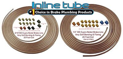Copper Tubing Kit - Copper Nickel Brake Line Tubing Kit 3/16 and 1/4 25 Ft Coil Rolls With Fittings