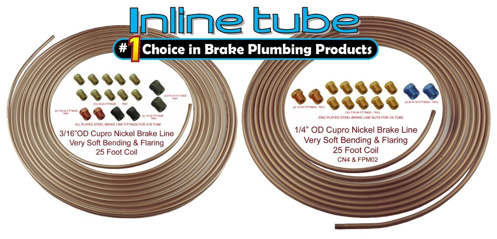 3//16 X 25 Feet COIL BRAKE LINE TUBING ZINC COATED with FITTINGS 10 rolls 40 nuts