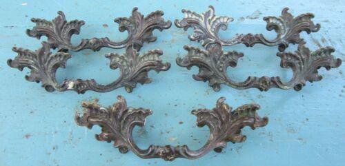 "Set of 5 Bronze Drawer Pull Handles Ornate 4.5"" offset European Antique"