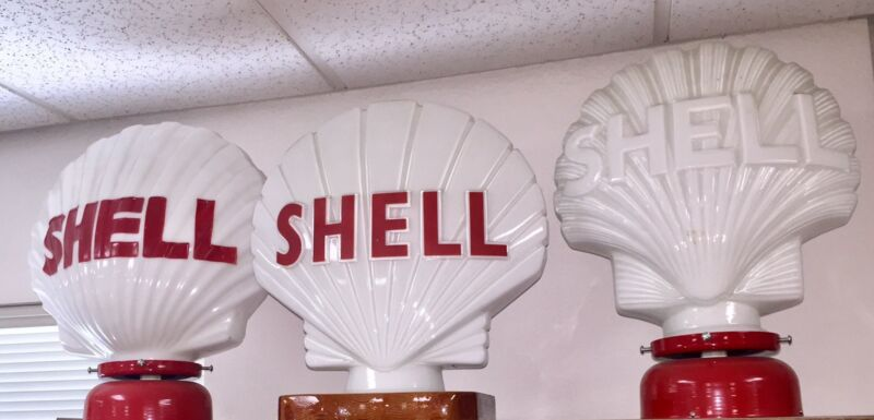 VINTAGE SHELL GASOLINE PUMP GLOBE SET MILK GLASS ABSOLUTELY BEAUTIFUL!