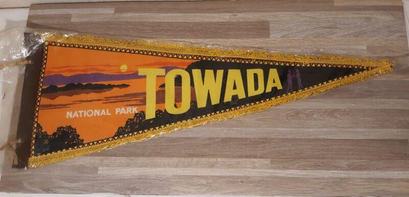 Vintage Japan Towada National Park Souvenir Fringe Pennant Banner New Old Stock