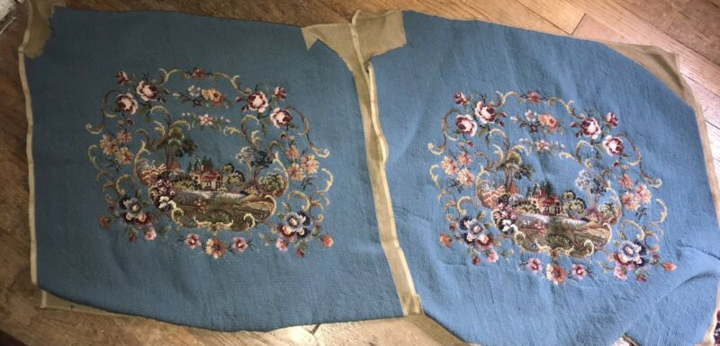 Vintage Finished Needlepoint Seat Covers (2) Blue Ground House Scene & Floral